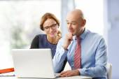 Businesswoman discussing with senior businessman — Stock Photo