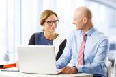Businesswoman and businessman working on laptop — Stock Photo