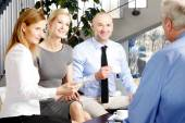 Businessman sitting at interview at office — Stock Photo