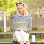Coffee break businesswoman outdoor — Stock Photo #73272901
