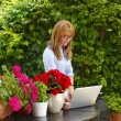 Woman working with laptop at flower shop — Stock Photo #73276059