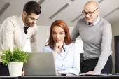 Businesswoman with sales men — Stock Photo