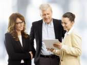 Businesswoman presenting idea to business people — Stock Photo