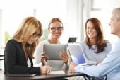 Businesswomen sitting at interview — Stock Photo