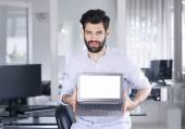 Creative manager sitting at designer studio — Stock Photo