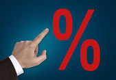 Hand pointing on percentage sign concept — Stock Photo