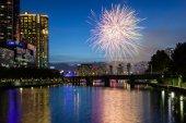 Melbourne Skyline with Fireworks at Dusk — Stock Photo