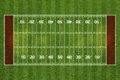 American football field with hash marks and yard lines. Grass te — ストック写真