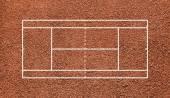 Kort tenisowy. widok z góry pola. pomarańczowy gliny. — Zdjęcie stockowe