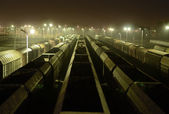 Freight Station with trains, cargo transportation at night. — Zdjęcie stockowe