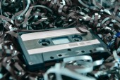 Cassette and tape background — Stockfoto