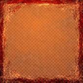 橙色垃圾背景。抽象的老式的质地,带框架 — 图库照片