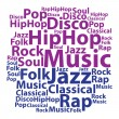 Text cloud. Music wordcloud. Tag concept. Vector illustration. — Stock Vector #56002085