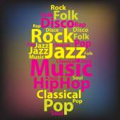 Text cloud. Music wordcloud. Tag concept. Vector illustration. — Stock Vector