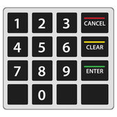 Atm keypad isolated on white. Vector version. — Stock Vector