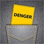 Black back jeans pocket realistic denim texture with danger tag — Stock Vector