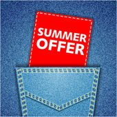 Summer offer tag. Blue back jeans pocket realistic denim texture — Stock Vector