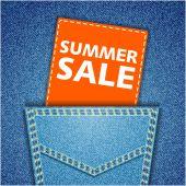 Summer sale tag. Blue back jeans pocket realistic denim texture — Stock Vector