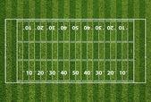 Terrain de football américain de hachures et de lignes d'yard. herbe te — Photo