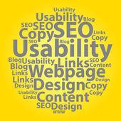 Text cloud. Seo wordcloud. Tag concept. Vector illustration. — Stock Vector