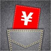 Yen sign tag. Black back jeans pocket realistic denim texture — Stock Vector
