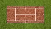Tenisový kurt. pole pohledu shora. deska pozadí. — Stock fotografie