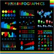 Colorful infographics set on black background and icons set. — Stock Vector #69666857
