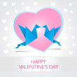 Two kissing origami birds. Love card concept Happy Valentines Da — Vector de stock  #69666997