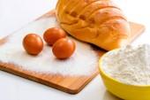 Bread flour and eggs — Stock Photo