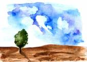 Tree. Hand drawn watercolor painting. — Stock Photo