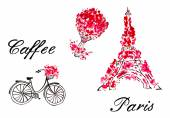 Tower Eiffel, bicycle, balloon with Paris lettering — Vector de stock