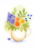 Painted flowers in a vase. Watercolor. Vector. — Vettoriale Stock