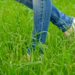 Female feet in shoes with wedge heels on green grass — Stock Photo #70473893
