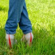 Female feet in shoes with wedge heels on green grass — Stock Photo #70474179