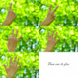 Gestures, numbers 1-10 in sign language on green background — Stockfoto #71914683