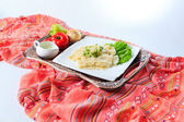 Hingal with cheese, traditional Azerbaijani cuisine. Side view. — Stock Photo