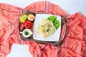 Tray with hingal with cheese and vegetabl, traditional Azerbaijani cuisine. Top view. — Stock Photo