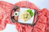 Hingal with cheese, traditional Azerbaijani cuisine. Top view. — Stock Photo