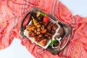 Grilled meat, top view — Stock Photo