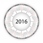 Round calendar for 2016 year. — Stock Vector