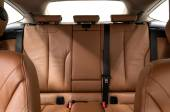 Leather back passenger seats in car. — Stock Photo