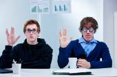 Two very nerd brains office workers — Stock Photo