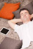 Relaxed man having finally time off — Stock Photo