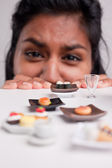 Indian girl on a diet with micro foods — Stock Photo