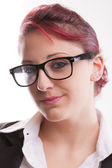 Redhaired sexy eighties secretary with glasses — Stock Photo