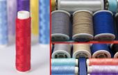 Composition of colorful sewing threads — Stock Photo