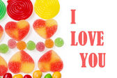 Valentines card with candy — Stock Photo