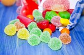 Jelly beans on blue background — Foto de Stock