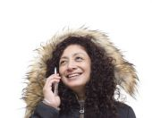 Woman with mobile phone isolated — Stock Photo