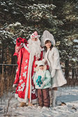 Ded Moroz and Snegurochka with gifts 1461. — Stock Photo